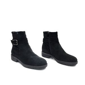 Aquatalia Black Suede Elastic Ankle Boots w/Buckle